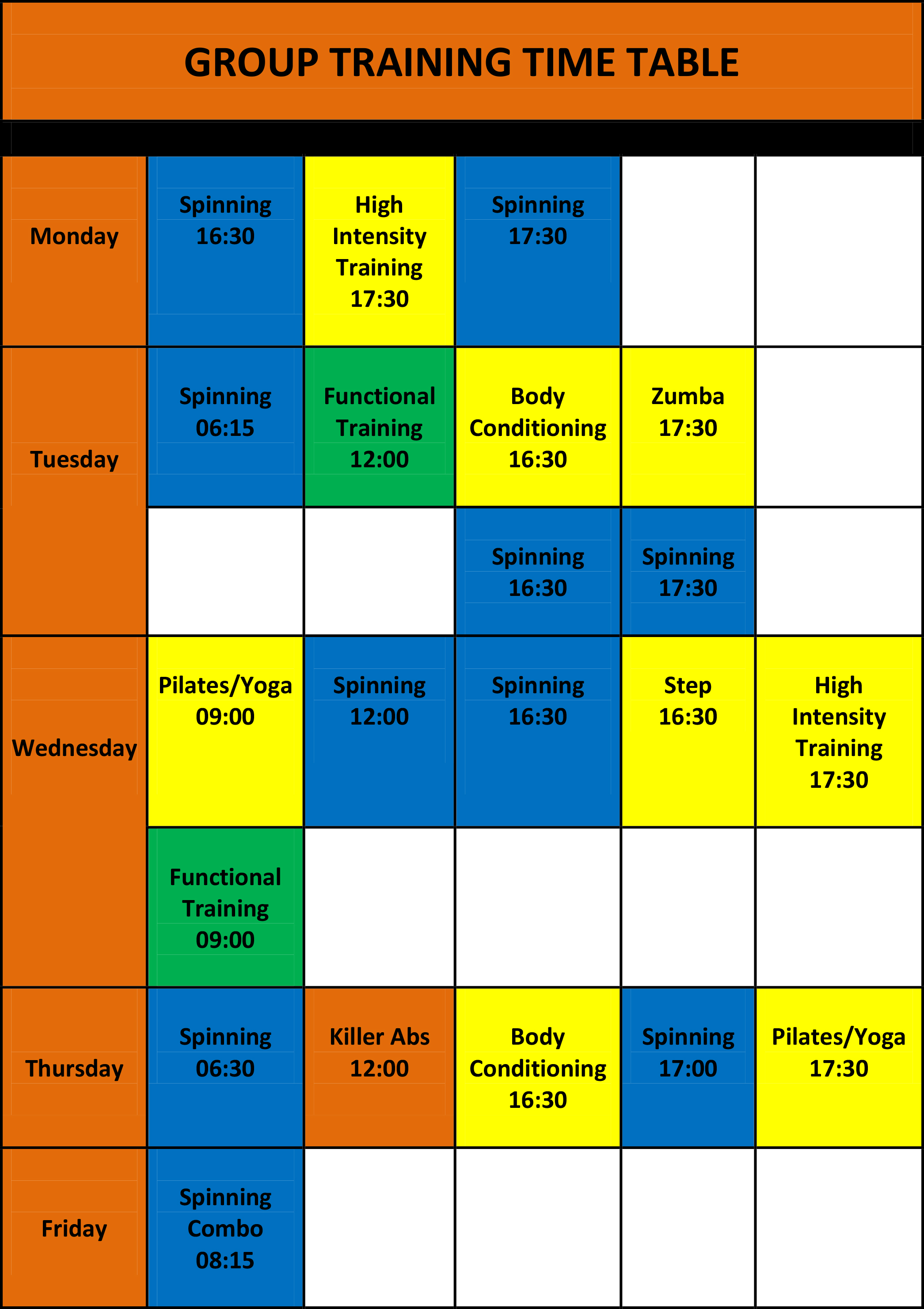 Group Training Time Table Till The End Off March 2018-1
