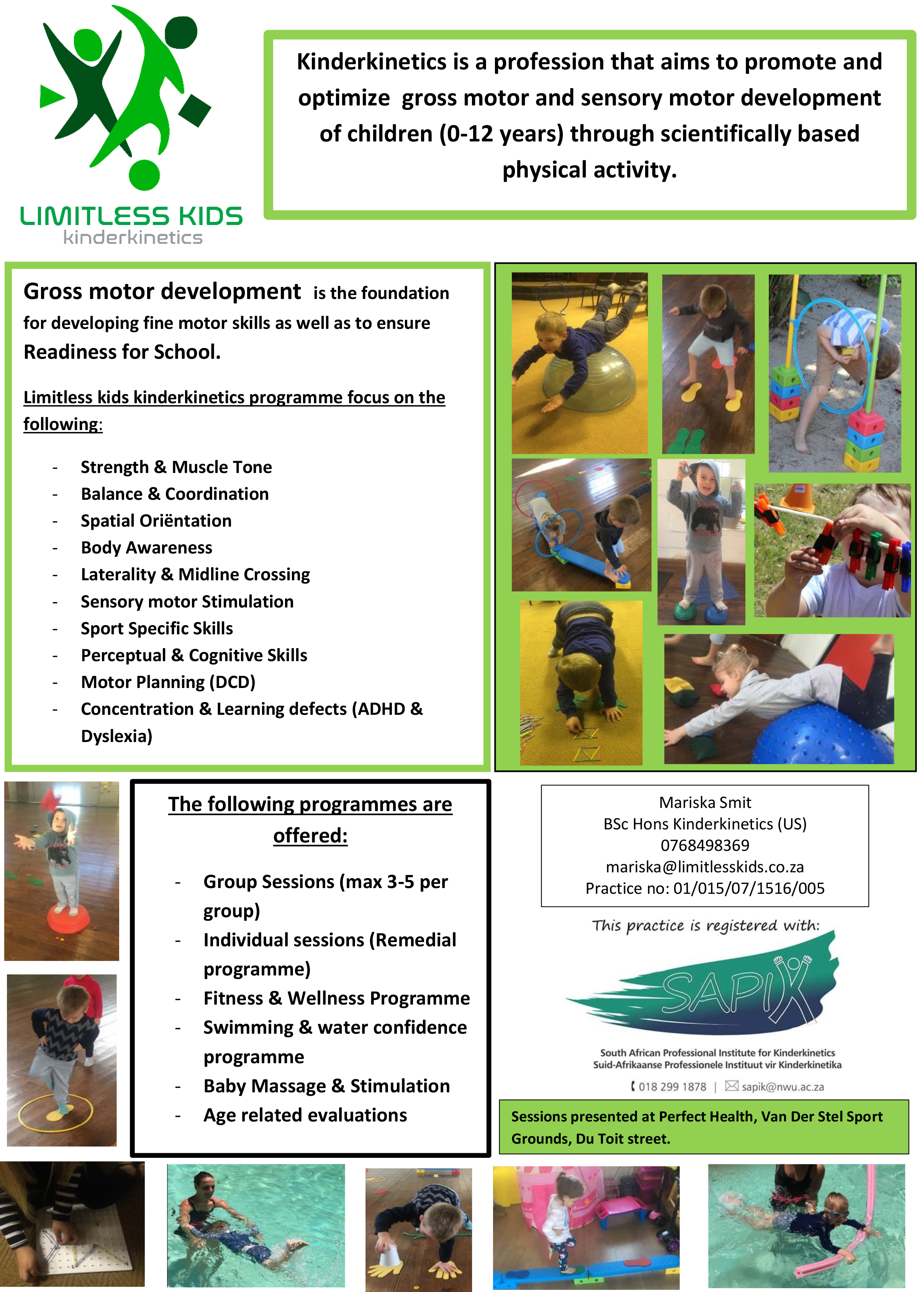 Limitless Kids Kinderkinetics pamphlet